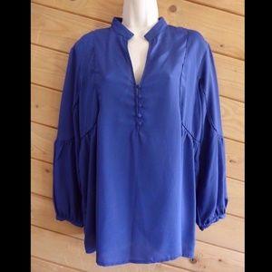 GreyLin M Blouse Royal Blue Bishop Shirt Top